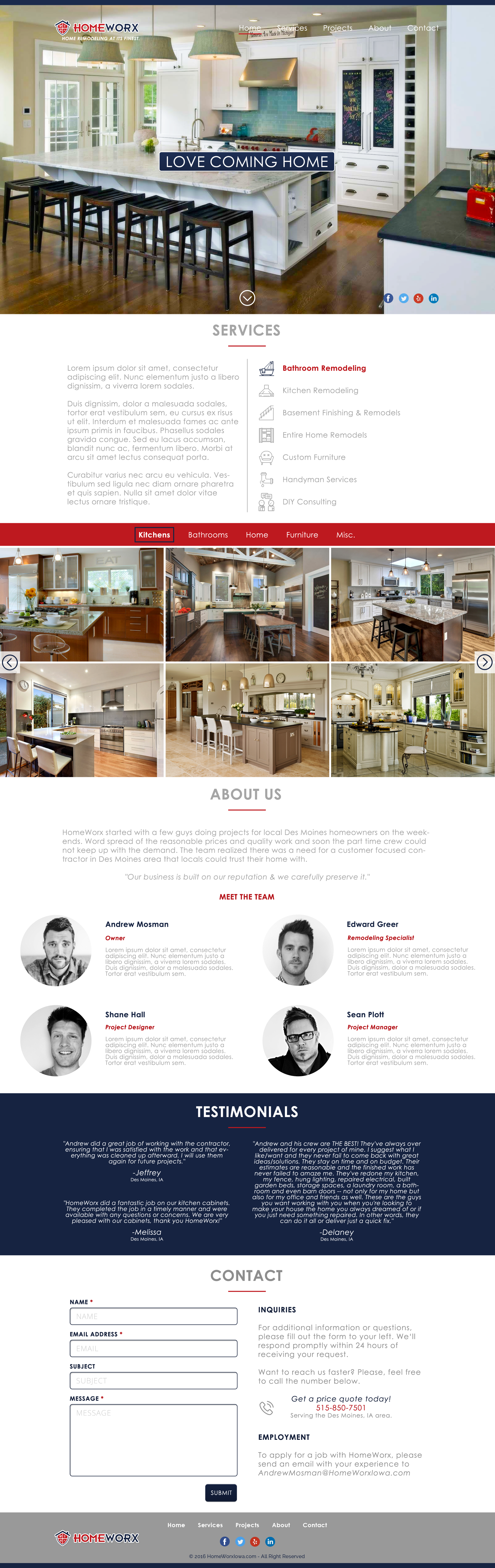 website landing page for remodeling company squadhelp